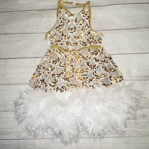 White/Gold Ballet Tap Dance Dress Feather Accents